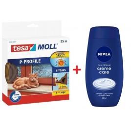 TESA MOLL Gumové těsnění, hnědé, na okna a dveře, P profil, 25m 05391-00103-00 + dárek sprch. gel NIVEA