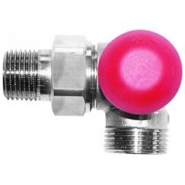 """HERZ TS-90-V-Termostatický ventil úhlový pravý 1/2"""", M 28 x 1,5 červená krytka 1774667"""