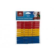 Sada dřevěných kolíčků barevných 24ks Brilanz, délka 74mm, materiál: bříza