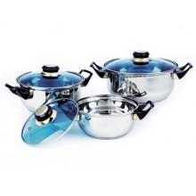 VETRO-PLUS 6dílná sada nerezového nádobí Celeste, barva modrá 4806T