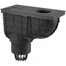 ALCAPLAST Univerzální lapač střešních splavenin 300 × 155/110 přímý černý AGV1