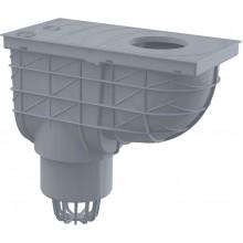 ALCAPLAST Univerzální lapač střešních splavenin 300 × 155/110 přímý šedý AGV1S