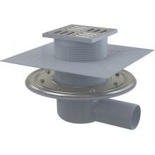 ALCAPLAST Podlahová vpust 105×105/50 boční, mřížkanerez APV1324