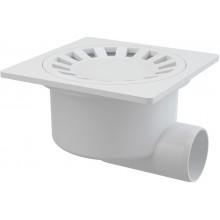 ALCAPLAST Podlahová vpust 150×150/50 boční, mřížka bílá APV15