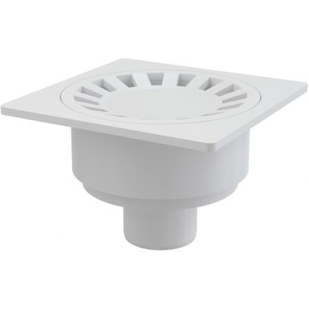ALCAPLAST Podlahová vpust 150 × 150/50 přímá, mřížka bílá APV16