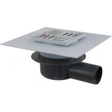 ALCAPLAST Podlahová vpust 105 × 105/50 boční, mřížka nerez APV26C