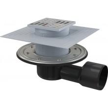ALCAPLAST Podlahová vpust 105 × 105/50/75 boční, mřížka nerez APV3344