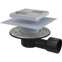 Podlahová vpust 150 × 150/50/75 boční, mřížka nerez, APV3444