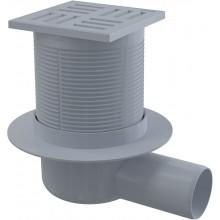 ALCAPLAST Podlahová vpust 105 × 105/50 boční, mřížka šedá APV5111