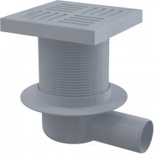 ALCAPLAST Podlahová vpust 150 × 150/50 boční, mřížka šedá APV5211