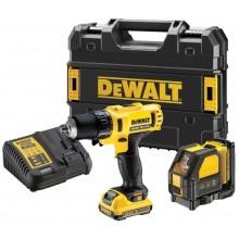 DeWALT Combo sada Aku vrtačka + Křížový laser 10,8 V, kufr Tstak DCK215D2T