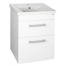 AQUALINE POLY umyvadlová skříňka 51,8x74,6x44 cm, 2 zásuvky, bílá PL055