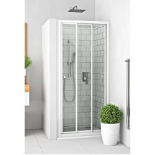 ROLTECHNIK Sprchové dveře posuvné s oboustranným vstupem pro instalaci do niky PD3N/1000 bílá/rugiada 413-1000000-04-16