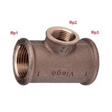 """VIEGA Bronz závitový T-kus 3130 3/4""""x1/2""""x3/4"""" 264468V"""