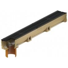 ACO EuroSelf žlab 1 m, H=10 cm, se spodním odtokem DN/OD 110, plastový rošt s Microgrip 416325