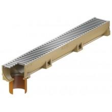 ACO EuroSelf žlab 1 m, H=10 cm, se spodním odtokem DN/OD 110, pozinkovaný můstkový rošt 38701