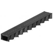 ACO HexaSelf žlab 1 m plastový, černý, plastový rošt s Microgrip 319210