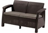 ALLIBERT CORFU LOVE SEAT Pohovka, 128 x 70 x 79cm, hnědá/šedo-béžová 17197359