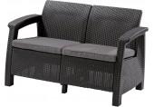 ALLIBERT CORFU LOVE SEAT Pohovka, 128 x 70 x 79cm, grafit/šedá 17197359