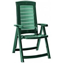 ALLIBERT ARUBA zahradní židle polohovací, 61 x 72 x 110 cm, tmavě zelená 17180080