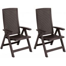 ALLIBERT MONTREAL zahradní židle polohovací 2 ks, 63 x 67 x 111 cm, hnědá 17201891