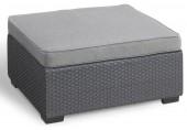 ALLIBERT SALTA/SAPPORO Stolek s poduškou, 70 x 70 x 38 cm, grafit/šedá 17207325