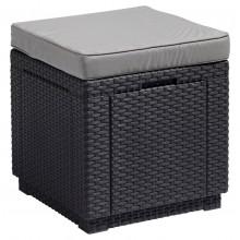 ALLIBERT CUBE taburet s poduškou, 42 x 42 x 39cm, grafit/šedá 17192157