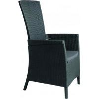 VÝPRODEJ ALLIBERT VERMONT zahradní židle polohovací, grafit 17201675 BEZ PODUŠKY!!!