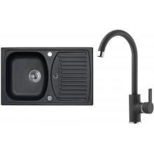 ALVEUS Set RECORD 30 dřez 780x480 mm + baterie TONIA, černá