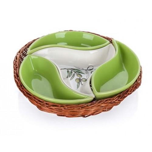 BANQUET OLIVES Mísa v košíku 23 cm, 4 díly 601556BO