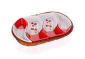 BANQUET 4d misky v košíku 30,5cm Red Poppy OK 601559RP