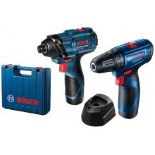 BOSCH Sada: GSR 120-LI + GDR 120-LI + GBA 12V 2.0Ah + GAL 1210 CV 4059952590998