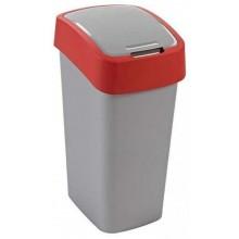 CURVER FLIPBIN 50l Odpadkový koš 65,3 x 29,4 x 37,6 cm stříbrná/červená 02172-547