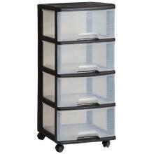CURVER komoda se šuplíky 4x20L, transparent/černá 06771-146