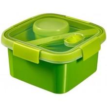 CURVER SMART TO GO 1,1L dóza s příborem mističkou a táckem 16x16x9cm zelená 00950-Y32