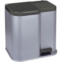 CURVER DUO 15L+6L odpadkový koš 30x39,5x40cm stříbrný 04027-491
