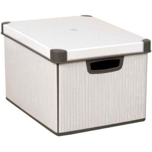 CURVER CLASSICO L box úložný dekorativní 39,5 x 29,5 x 25 cm šedá/bílá 04711-D41