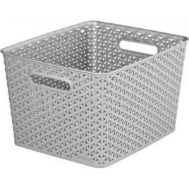 CURVER úložný box RATTAN Y STYLE L, 35 x 30 x 22 cm, stříbrný, 03612-087