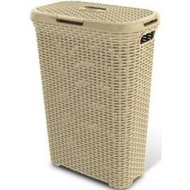CURVER Koš na špinavé prádlo RATTAN, 61,5 x 26,5 x 44,8 cm, 40 l, krémový, 00709-885