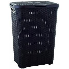 CURVER Koš na špinavé prádlo RATTAN, 44,8 x 61,5 x 34,1 cm, 60 l, tmavě hnědý, 00707-210