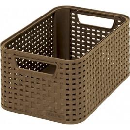 CURVER úložný box RATTAN Style2 S, 28,5 x 12,9 x 19,4 cm, kávová, 03614-213