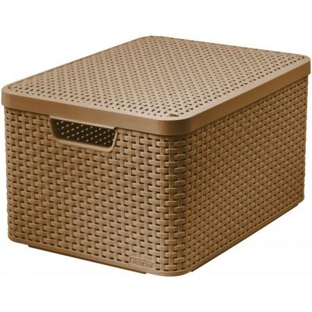 VÝPRODEJ CURVER úložný STYLE BOX s víkem L, 44,5 x 24,8 x 33 cm, hnědý, 03619-213, PRASKLÝ