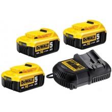 DeWALT Sada nabíječky a 3x baterií XR Li-Ion 18V 5,0 Ah DCB115P3