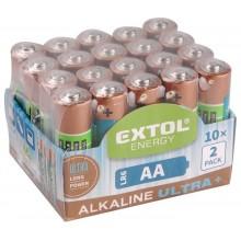 EXTOL Energy Alkalické tužkové baterie Ultra + AA 1,5V, 20ks 42013