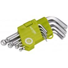 EXTOL CRAFT L-klíče imbus krátké s kuličkou, sada 9ks 66000