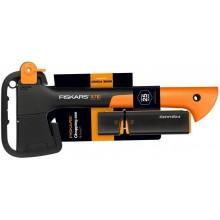 Fiskars Set sekera univerzální X7 + ostřič Xsharp™ 1020183