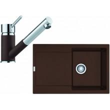 Franke SET G72 granitový dřez MRG 611 tmavě hnědá+baterie FC 7486 tmavě hnědá 114.0365.287