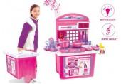 Dětská kuchyňka G21 s příslušenstvím v kufru růžová 690677