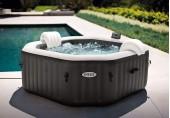 INTEX nafukovací vířivka Deluxe octagon systém slané vody, 4 osoby, bublinky+masáž+trysky, 800L,201x201x71cm, 28458EX