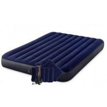 INTEX CLASSIC DOWNY AIRBED QUEEN Nafukovací postel 152 x 203 cm s pumpou a 2x polštářky 64765